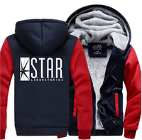 The Flash STAR S T A R Labs Superman Hooded Men 2017 Winter Warm Fleece High