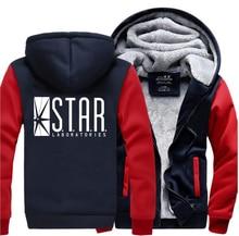 The Flash STAR S.T.A.R. Labs Superman Hooded Men 2019 Winter Warm Fleece High Quality Sweatshirt Hoody Men Fashion Tracksuits printio star labs