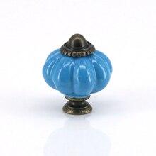 6 uds estilo Rural forma de calabaza de cerámica Pomo de puerta de armario de gabinete de vino Bin cajón tirador de tocador Vintage perillas azul