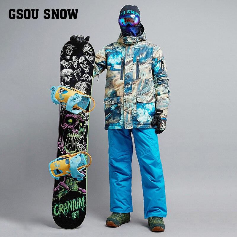 2018 GSOU SNOW Men Ski Suit Snowboard Suit Windproof Waterproof Outdoor Sport Wear Skiing Jacket Pant Super Warm Male Suit Set men plus size 4xl 5xl 6xl 7xl 8xl 9xl winter pant sport fleece lined softshell warm outdoor climbing snow soft shell pant