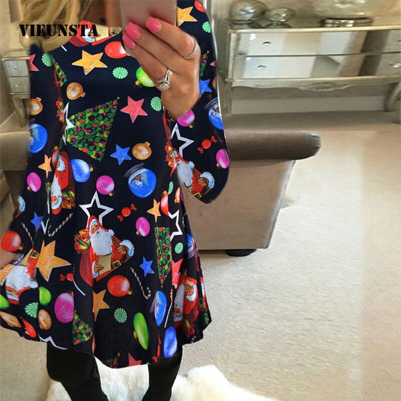 VIEUNSTA automne hiver robe de noël 2018 nouvel an Festival famille robe de fête femmes flocon de neige imprimer robe Vestidos Plus 5XL