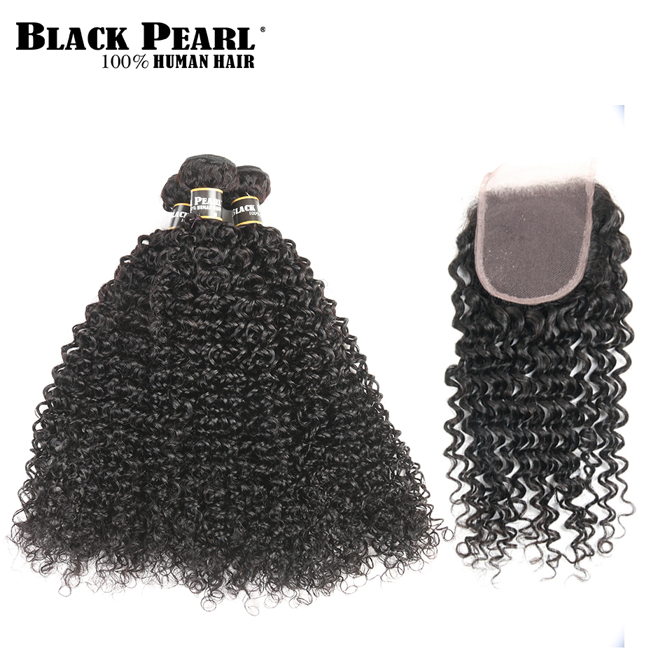 BlackPearl Pre Colored Non Remy Hair Bundles with Closure Kinky Curly Weave Human Hair 3 Bundles