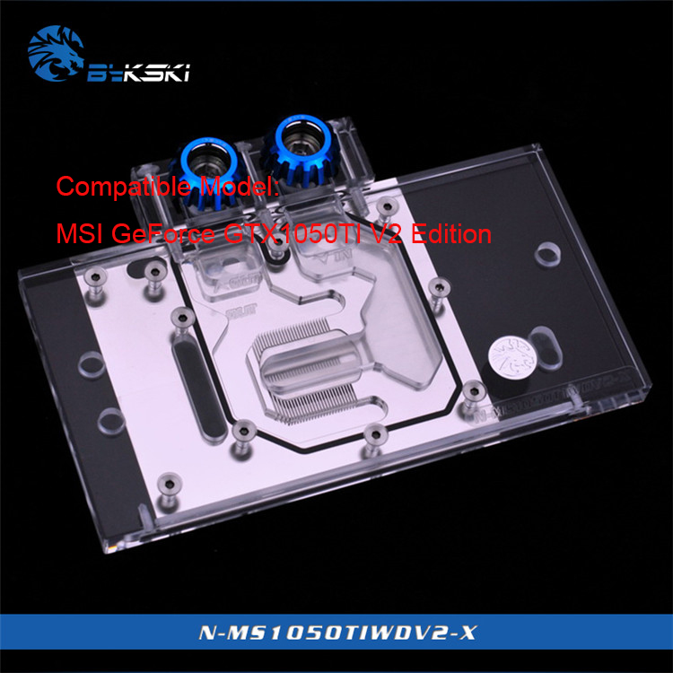 Bykski N-MS1050TIWDV2-X Full Cover Graphics Card Water Cooling Block RGB light GPU Cooler for MSI GeForce GTX1050TI V2 Edition цена 2017