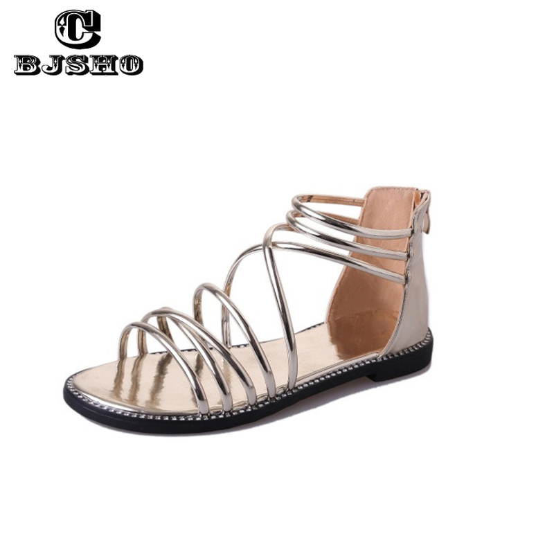 CBJSHO Gladiator Sandals Women Flat Fashion Zapatos Mujer Casual Summer Sandals Peep-toe Shoes Roman Sandals Female Shoes Women summer shoes woman platform sandals women soft leather casual peep toe gladiator wedges women 7cm high heel shoes zapatos mujer