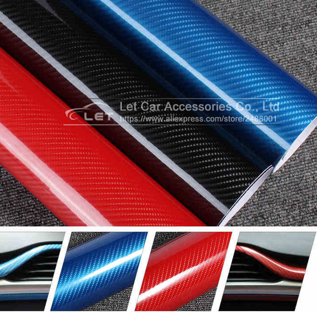 цена на Car Styling DIY High Glossy 5D Carbon Fiber Vinyl Wrap Film Motorcyle Automobiles Car Sticker And Decals Accessories