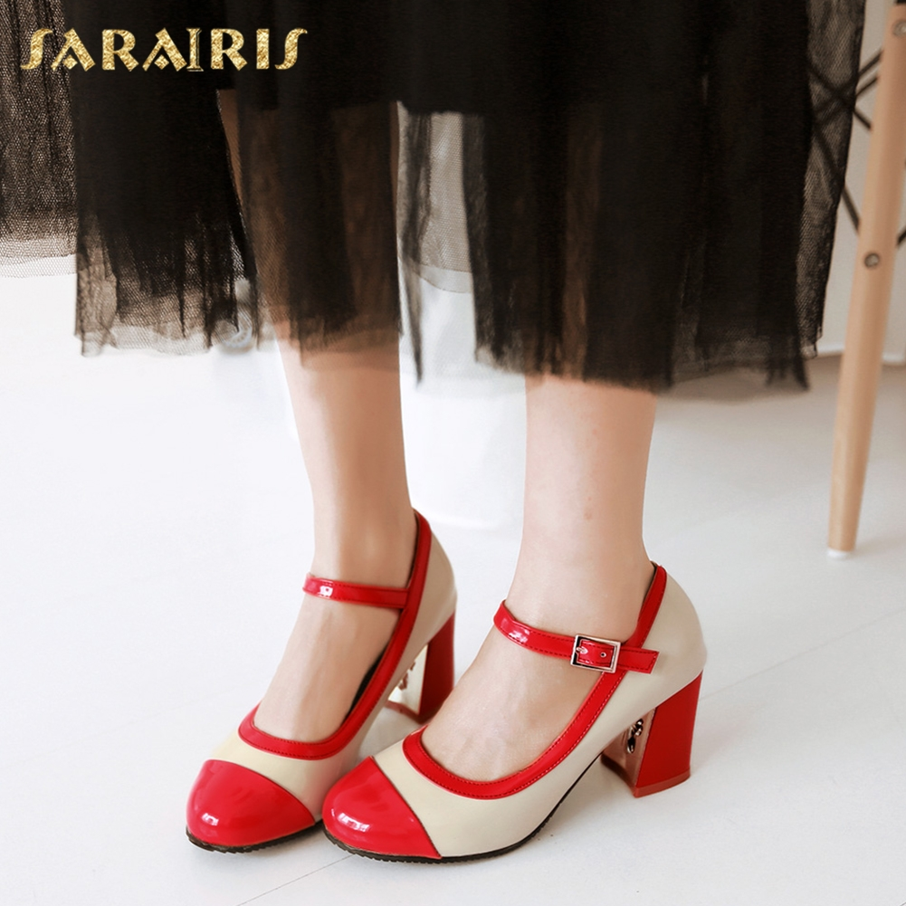 SARAIRIS New Plus Size 32-43 Spring Mary Janes Pumps High Heels Party Platform Shoes Woman Fashion Date Shoes Women Pumps xiaying smile woman pumps shoes women mary janes british style fashion new elegant spring square heels buckle strap rubber shoe