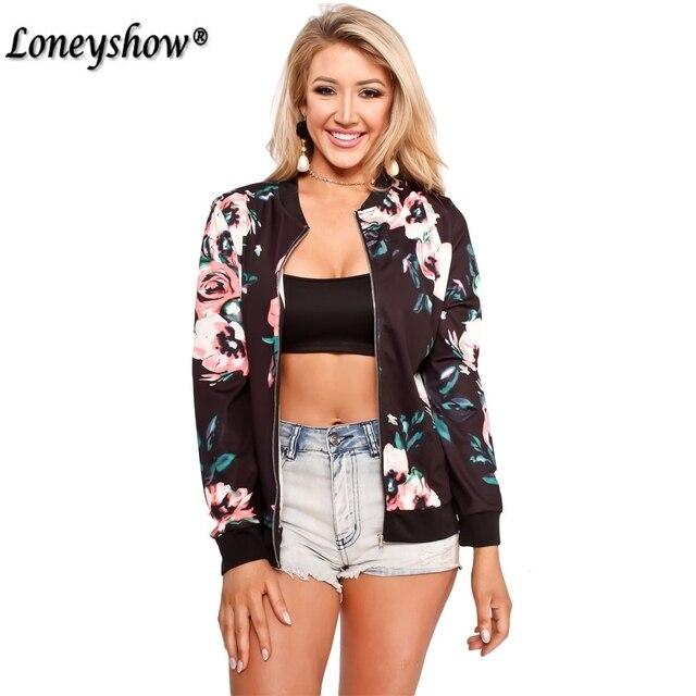 Floral Printed Women Jacket Long Sleeve Casual Zipper Jacket Coats 2017 Autumn Zipper Casual Jackets Outwear Women Basic Coats