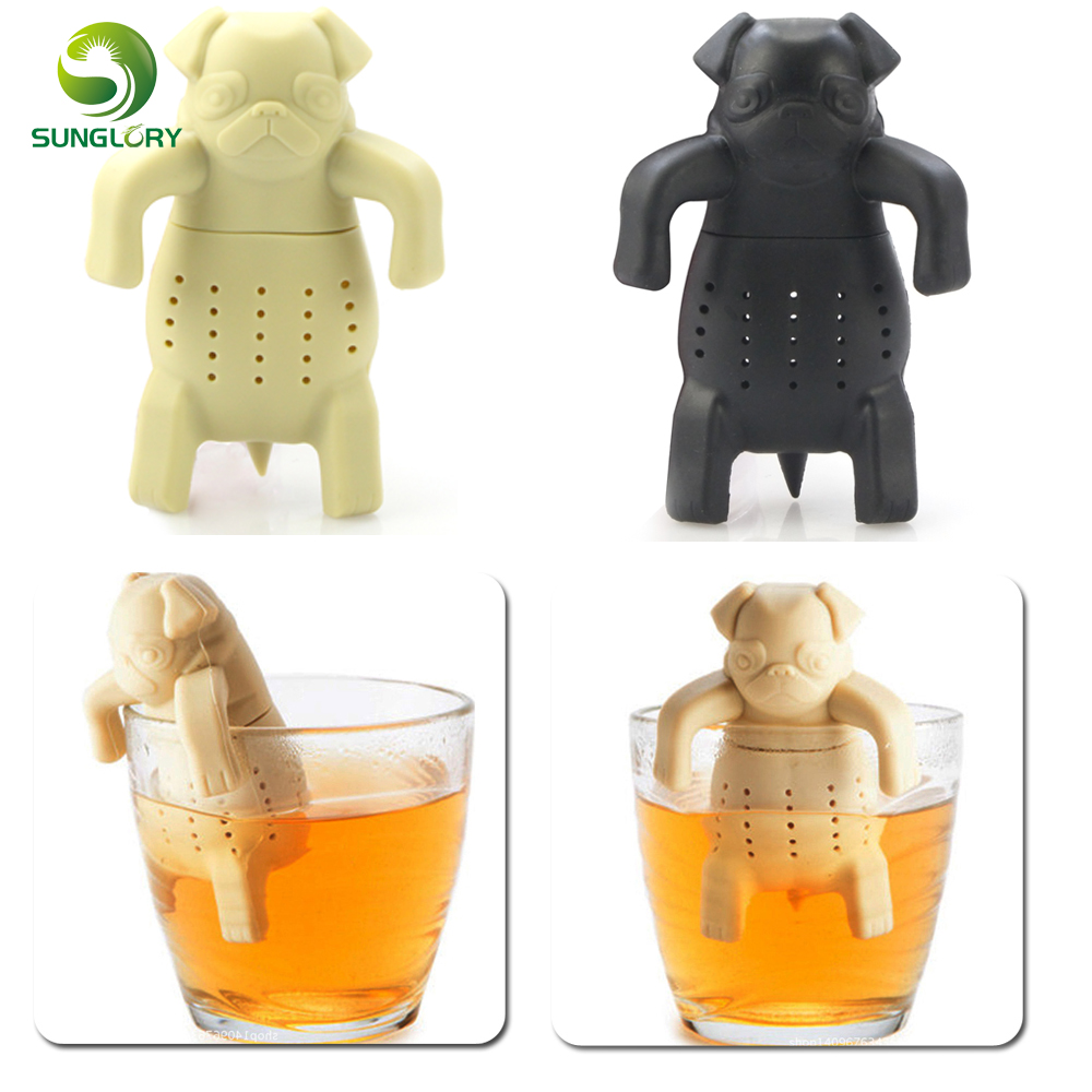 Pug In A Mug Silicone Tea Infuser Dog Tea Filter Diffuser Portable Reusable Tea Strainer Spice Loose Tea Leaf Herbal Tool Teapot