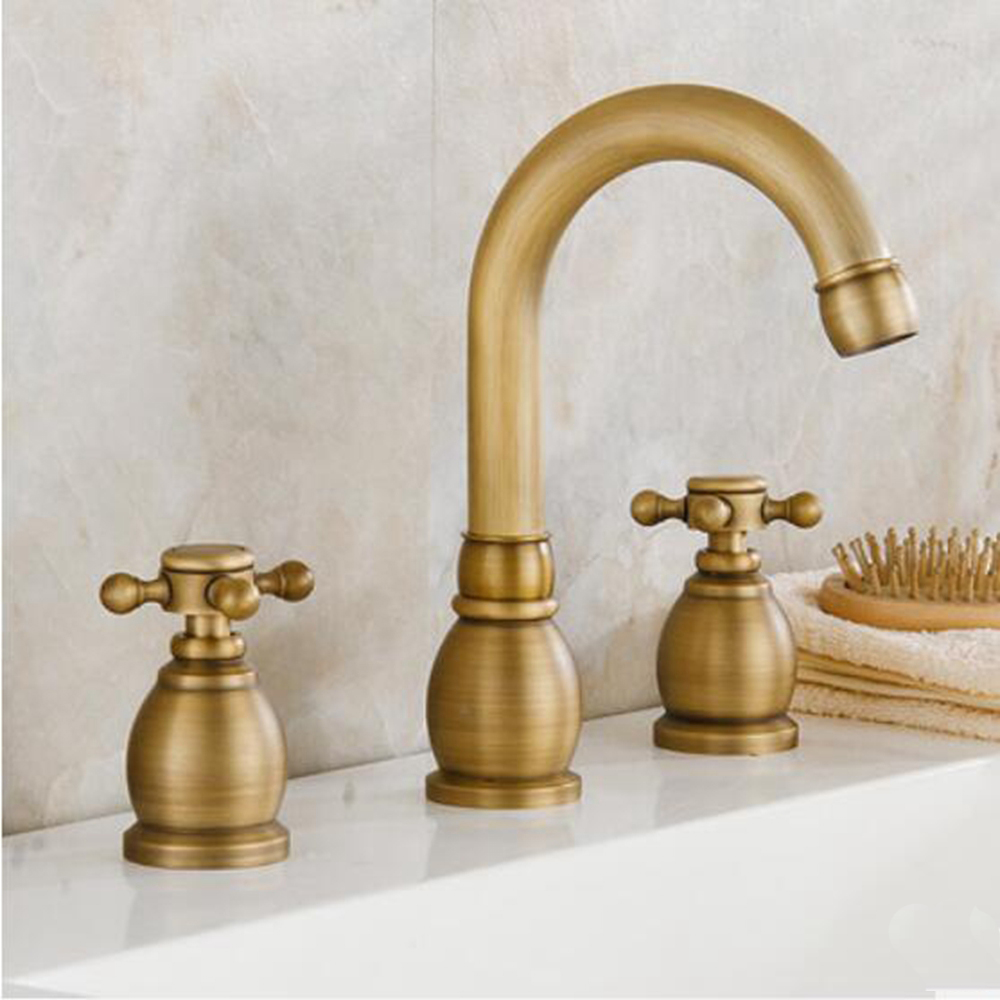 Widespread Dual Cross Handles Bathroom Basin Faucet Antique Brass Sink Mixer Tap antique brass swivel spout dual cross handles kitchen