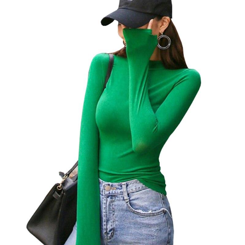 Shintimes Korean Style Long Sleeve Elasticity T Shirts Women Solid T shirt Womens Fashion Harajuku Female Slim Tee Shirt Femme in T Shirts from Women 39 s Clothing