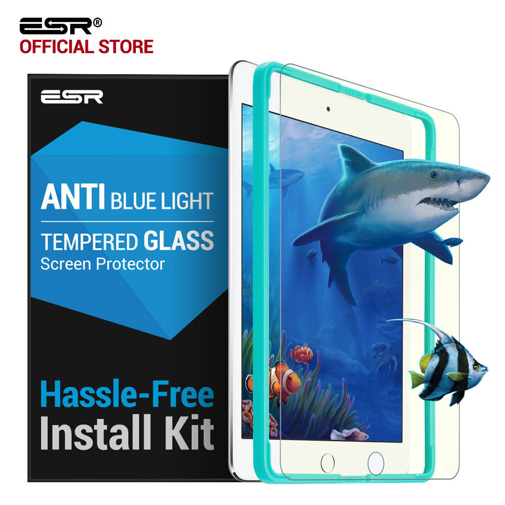 Glass Film for iPad mini 4 , ESR Anti Blue-ray Blue Light Tempered Glass Screen Protector with Free Applicator for iPad mini 4 screen protector with cleaning cloth for iphone 4