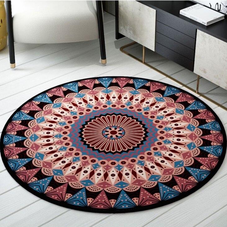 Style persan tapis ronds pour salon chambre tapis et tapis ethnique Floral décor tapis de sol étude Table basse tapis