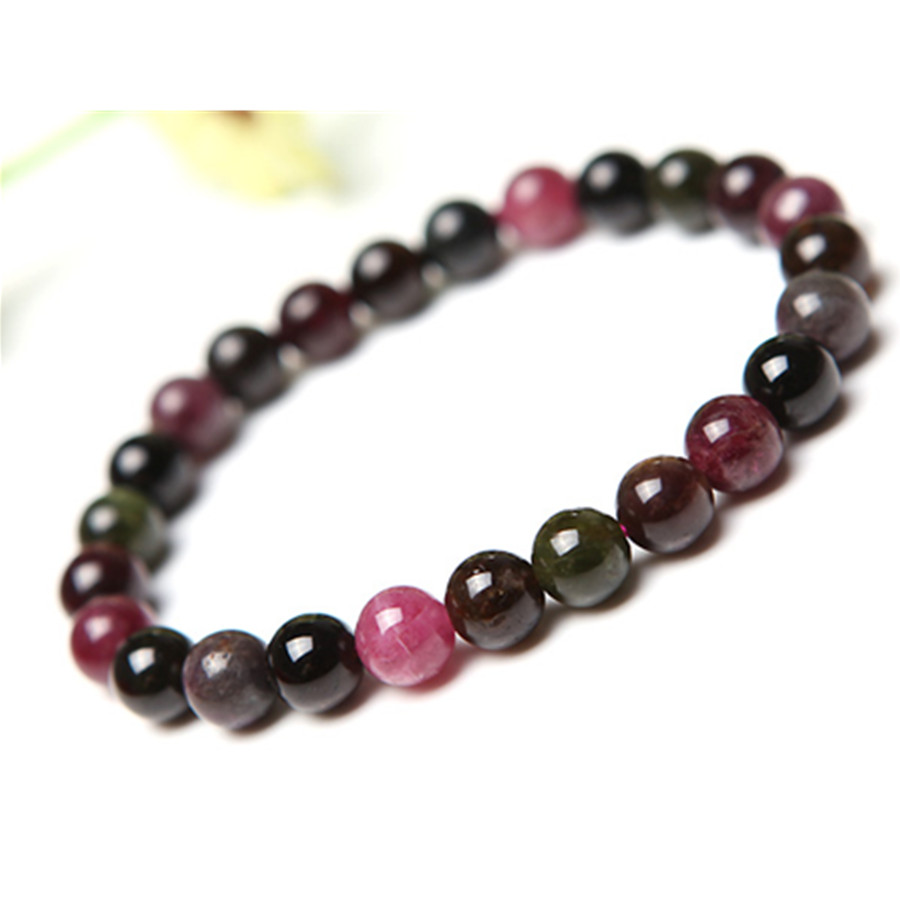 7.5mm Genuine Natural Coloful Tourmaline Gems Stone Women Stretch Bracelet Stretch Charm Round Crystal Beads Bracelet Femme 8mm genuine natural purple sugilite crystal beads women lady fashion gems stone jewelry stretch bracelet