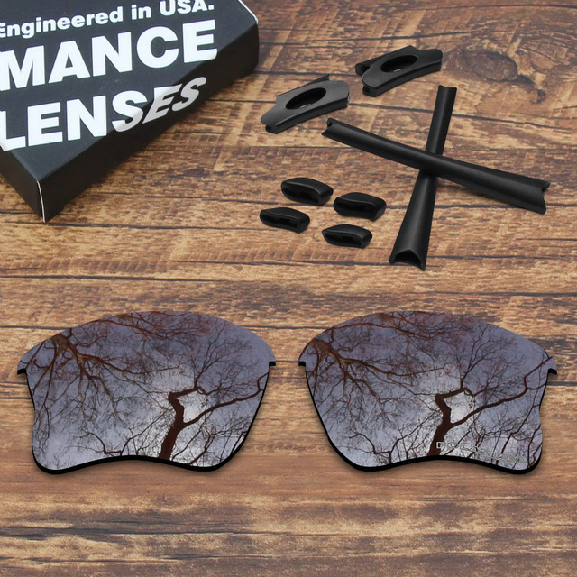 dda608ba445 ToughAsNails Resist Seawater Corrosion Brown Polarized Replacement Lenses  and Black Rubber Kit Pads for Oakley Flak Jacket XLJ