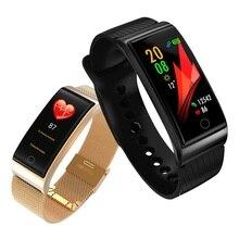 ONEVAN metalowa inteligentna opaska ciśnieniomierz tętna GPS Sport Fitness IP67 inteligentny zegarek bransoletka dla Xiaomi Android IOS
