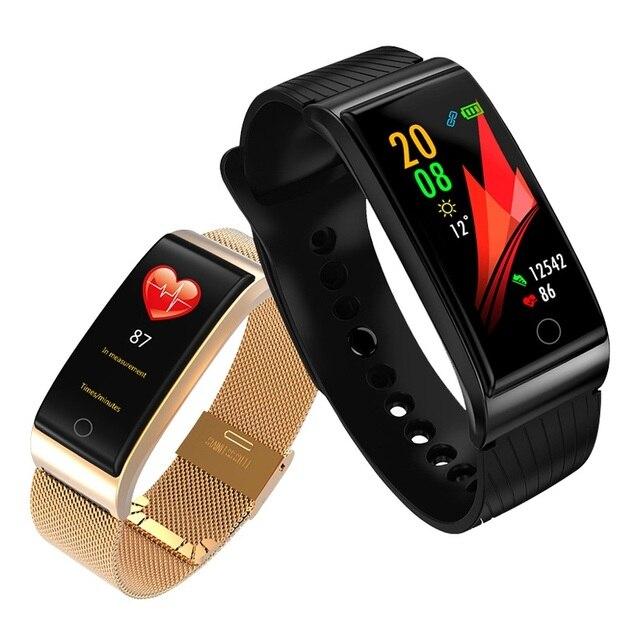 Onevan metal banda inteligente monitor de pressão arterial e freqüência cardíaca gps esporte fitness ip67 inteligente pulseira relógio para xiaomi android ios