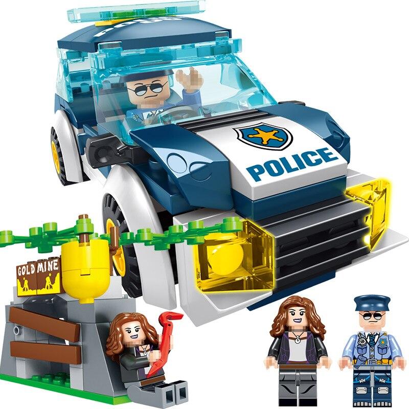 Technic Blocks Compatible LegoINGLYS City Series Police Car Vehicle Mini Action Figures Bricks Enlightening Toys For Boys