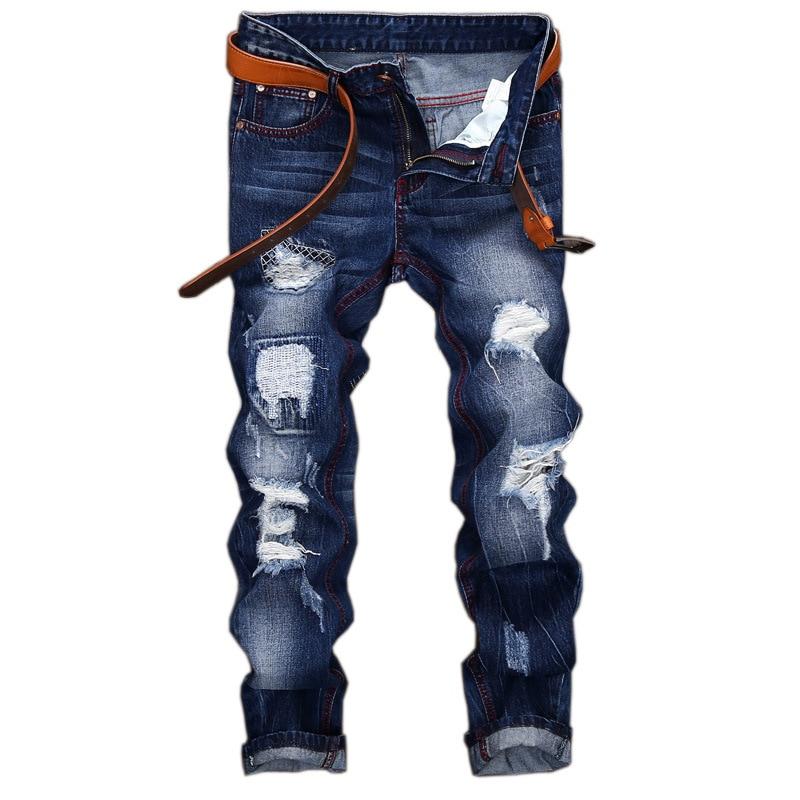 Original Brand Jeans Men Fashion Hole Straight Slim Jeans Personality Moustache Effect Men Designer Destroyed Ripped Jeans
