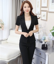 Formal OL Styles Women Pantsuits Summer Short Sleeve Business Women Female Trousers Suits Office Ladies Blazers Jacket And Pants