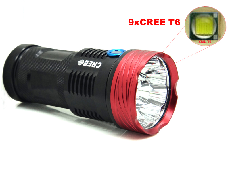 Super bright 15000 lumens SKYRAY King 9T6 LED flashlamp 9 x XM-L T6 LED Flashlight Torch For Camping, Hiking