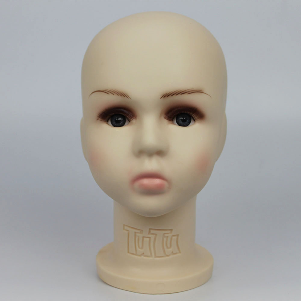 46 CM Unbreakable Realistic Plastic Baby / Kid Mannequin Dummy Head For Hat Display Manikin Heads