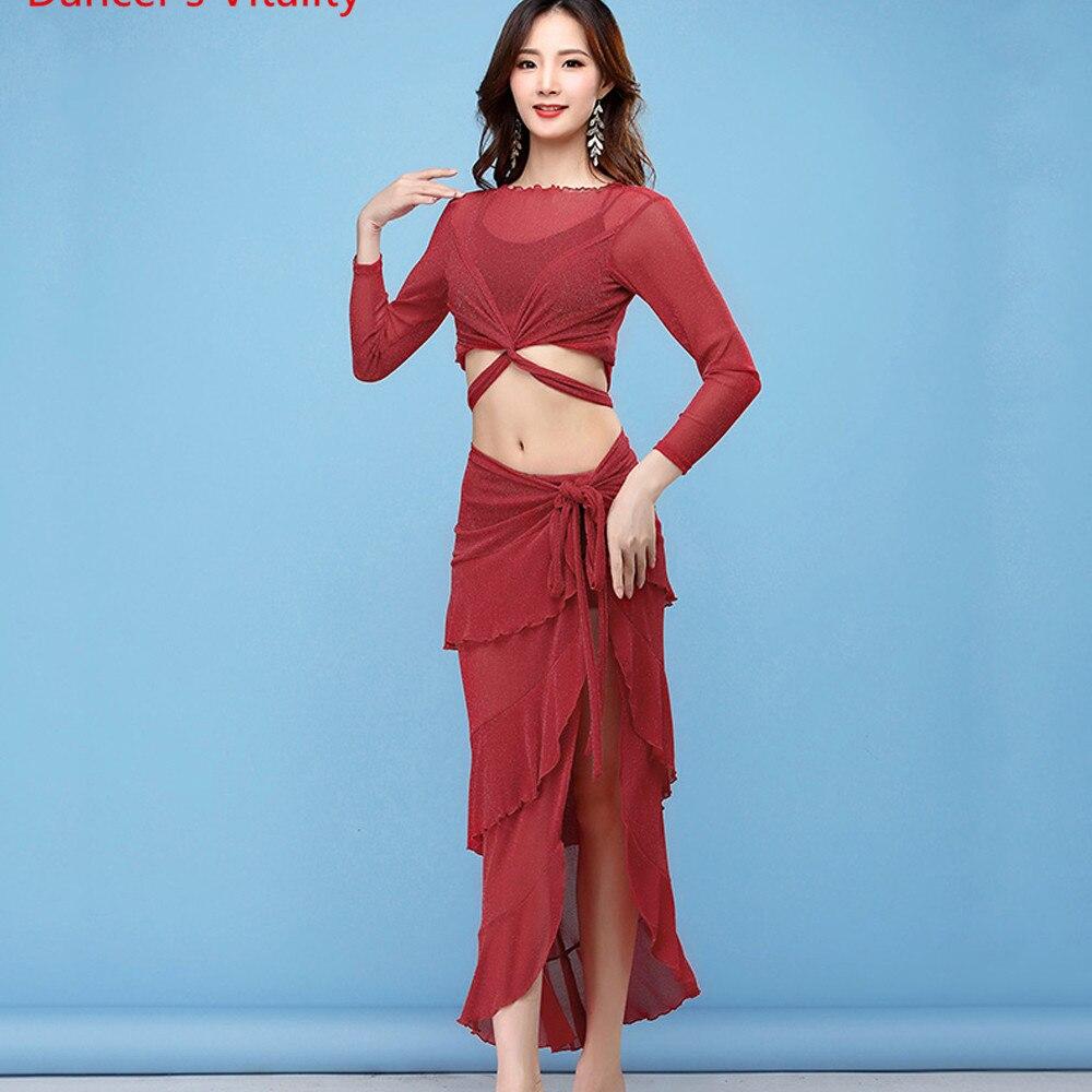 Belly Dance Costume Set Women Mesh Long Skirt Dress Women Sexy Practice Dance Costumes Bollywood Belly Dance 2Pcs