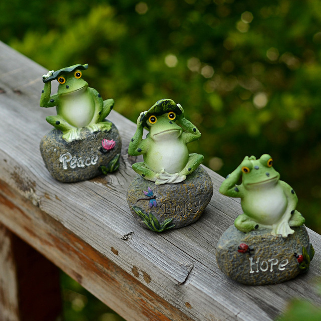 Creative Garden Ornaments Resin Animal Frog Stone Frog Pond Landscape Home  Decor Hope Peace Love Letter