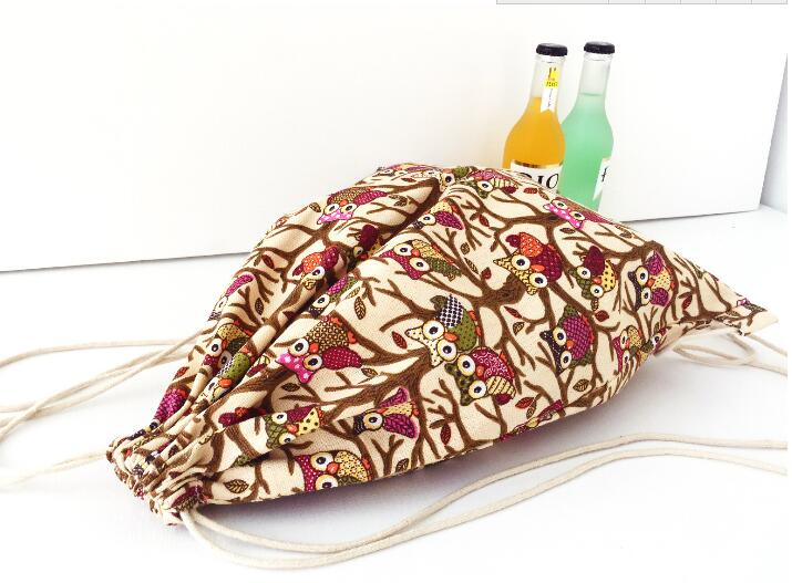 Multi color Canvas Drawstring Backpack Cotton Draw String Book Bag Unisex Travel Rucksack Wholesale in Backpacks from Luggage Bags