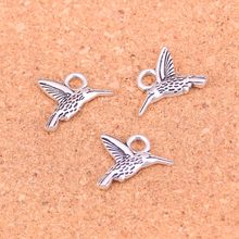 80Pcs Antique Silver Plated bee bird Charms Diy Handmade Jewelry Findings Accessories 19*15mm(China)