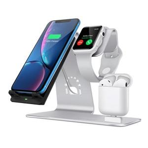 Image 2 - 3 で 1 ワイヤレス充電ステーション電話ホルダーチー高速ワイヤレス充電器ベース iPhone 8 × 三星銀河 S6 s7 S8 アップルの i 時計
