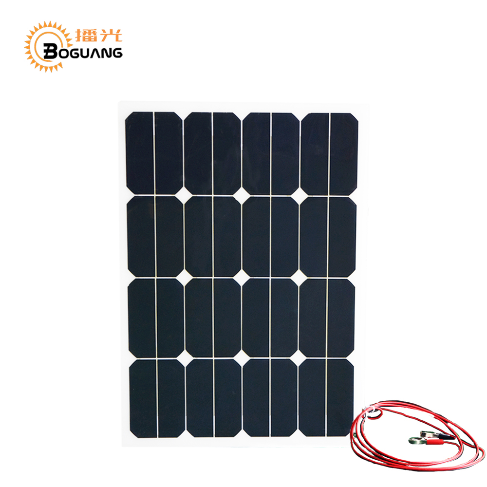 BOGUANG 30w 18v smoothy flexible solar panel efficient solar cell module car yacht led light RV 12v battery boat oudoor charge boguang 16v 90w solar panel quality cell aluminum board for home system car rv boat yacht 12v battery charger
