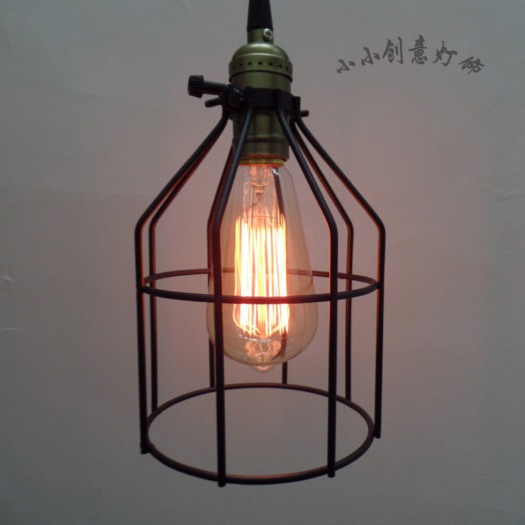 Vintage Edison Factory Metal ndustrial Hanging Light Mini Pendant Bird Cage Ceiling Lamp Guard For Cafe Bar Hall Club Store industrial edison vintage nordic brown glass ceiling lamp pendant hanging light for cafe bar hall club store restaurant corridor