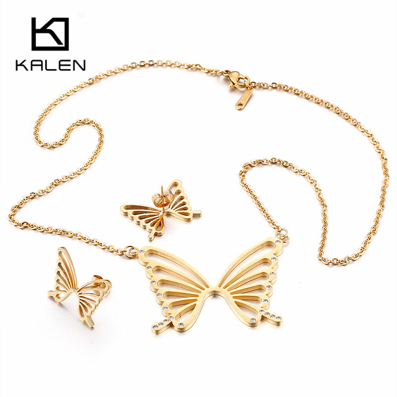 Kalen Peru Lima Gold Stainless Steel Butterfly Pendant Necklace & Earrings Jewely Sets For Women Wholesale Jewelry Gifts