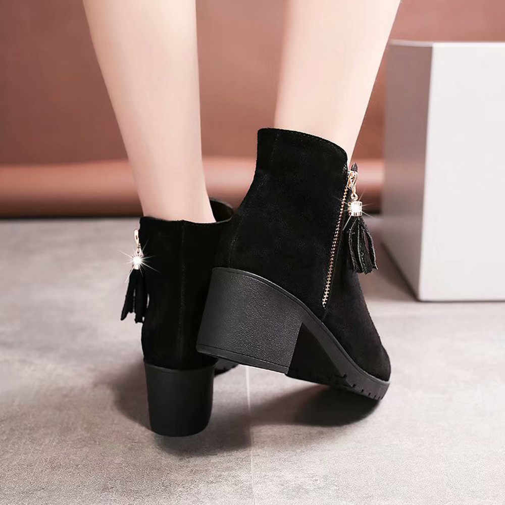YOUYEDIAN Kadınlar Yüksek Topuk Püskül Ayakkabı Martain Çizme Süet Düz Renk Yuvarlak Ayak Ayakkabı chaussure plaka femme printemps ete #25