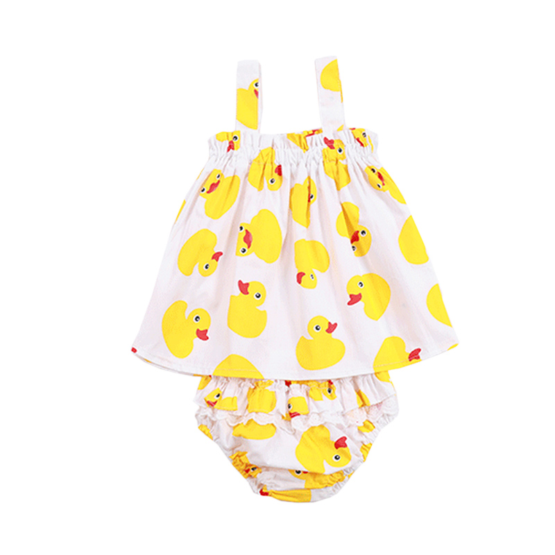 2017 Summer Baby Girl Clothes Cute Duck Print Tops Straps Sleeveless T-shirt+bloomer Bottoms Outfits Toddler Girls Clothing Sets t shirt tops shorts striped 2pcs set girl clothing summer beach outfits clothes toddler kids baby girls sets 2pcs