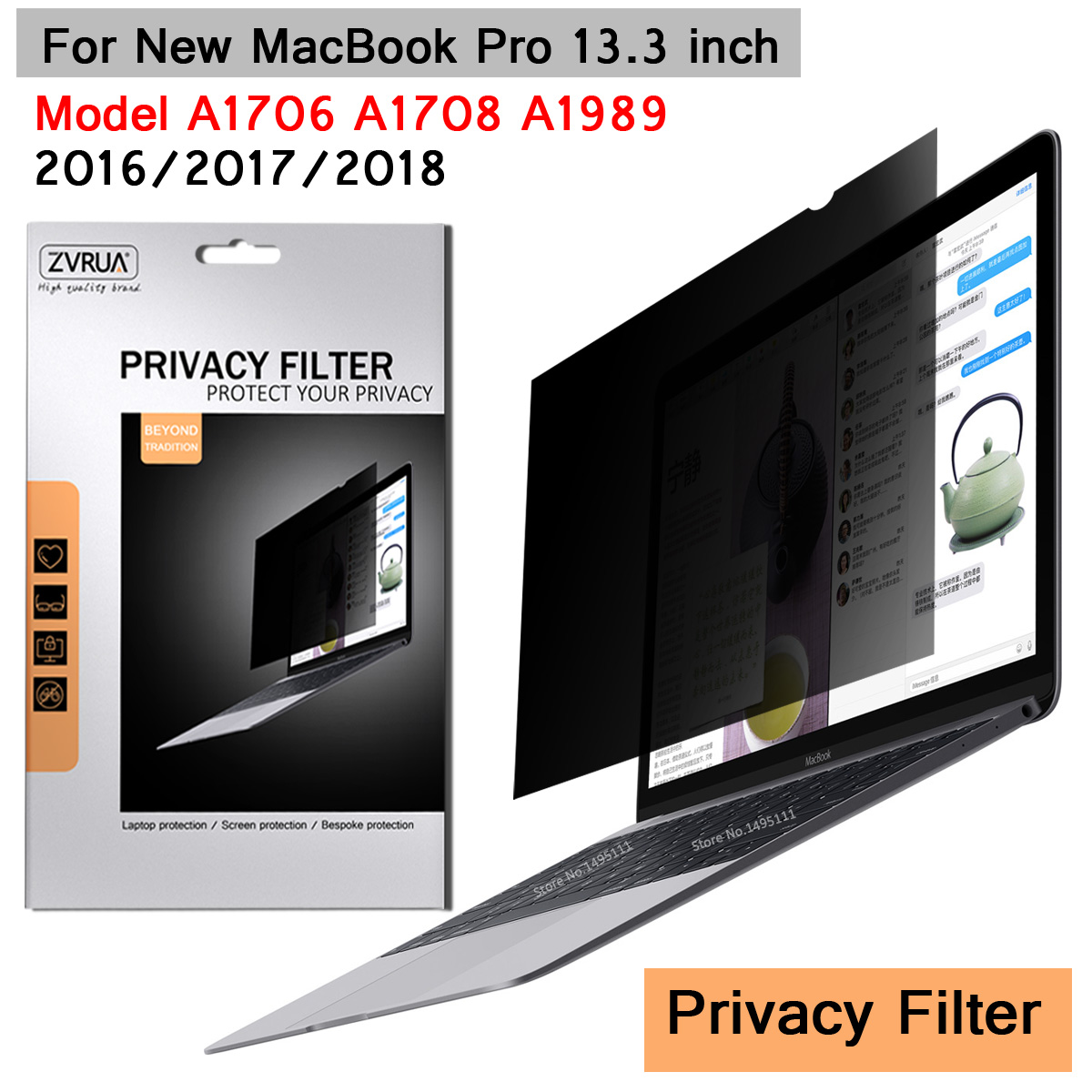 For 2016/2017/2018 New MacBook Pro 13.3 Inch With Touch Bar (299mm*195mm) Privacy Filter Anti Spy PET Screens Protective Film