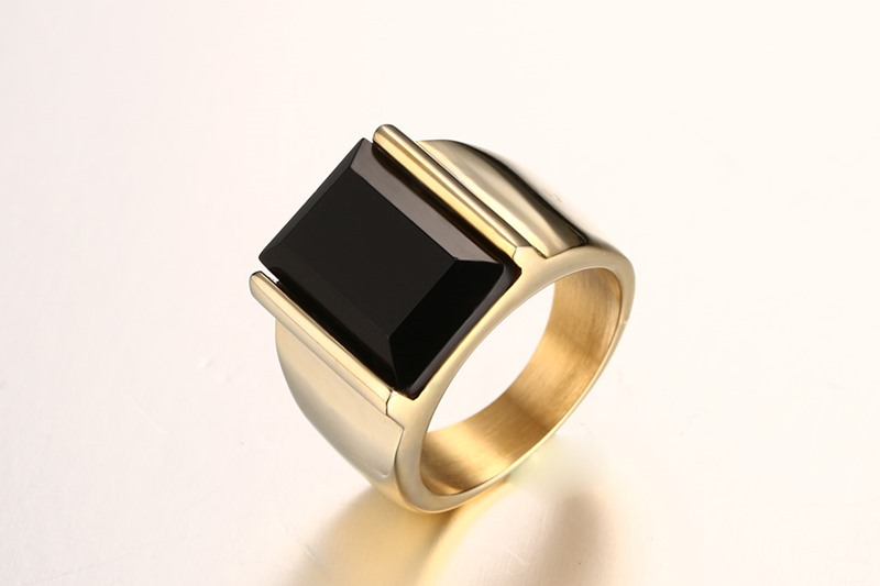Meaeguet Fashion Black Stone Rings Stainless Steel Wedding Rings For Men Jewelry