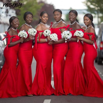 Red Bridesmaid Dresses South African Floor Length Plus Size Wedding Guest Dresses Formal Long Arabic Maid Of Honor Dresses