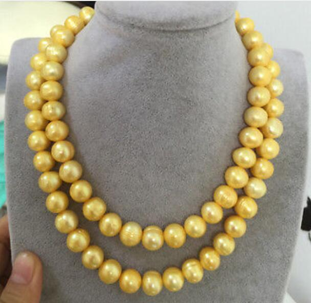 Charming 2row 10-11 mm baroque gold pearl necklace 18-19Charming 2row 10-11 mm baroque gold pearl necklace 18-19