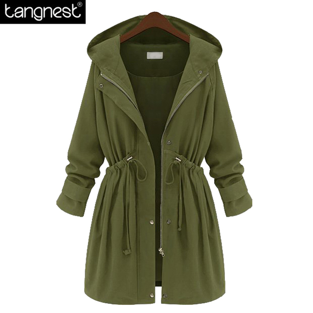 TANGNEST Causal Loose Solid Trench 2017 Spring Woman Black Army Green Basic Warm Coats Plus Size Hooded Long Surcoat WWF762