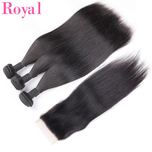 ROYAL 3/4Straight Hair Bundles With Closure Brazilian Hair Weave Bundles With Frontal 4*4 Remy Human Hair Bundles With Frontal