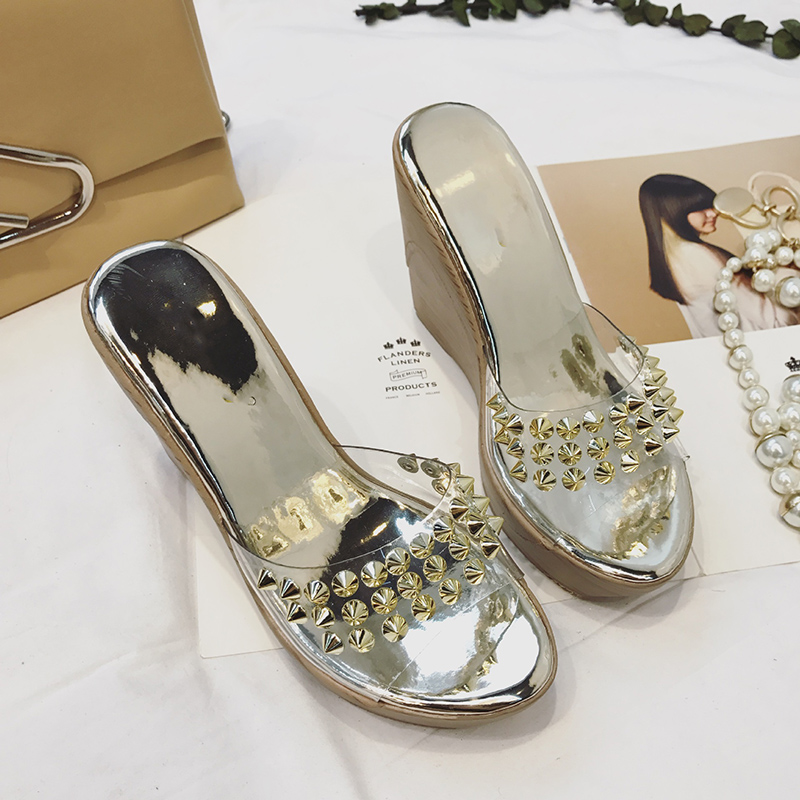 transparent Slippers womens Mules Shoes High Heels Summer Shoes Fur Sexy Peep Toes Woman Slides Outdoor Party Shoes Sandals