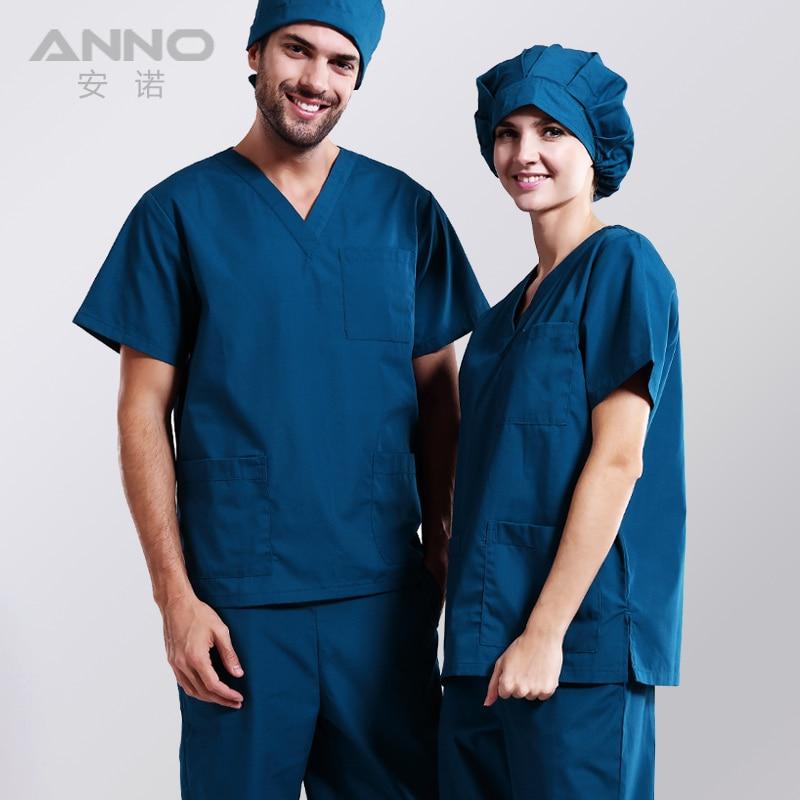 Hospital medical scrubs set blue nurseing uniform clothing for Spa uniform policy