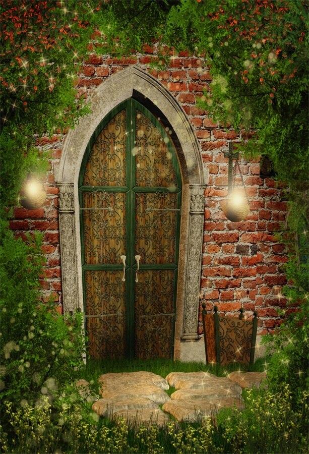 Laeacco Fairytale Green Plants Brick Wall Wooden Arch Door