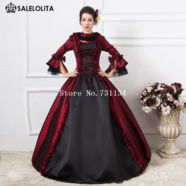 e599c94c66f37 New Arrival Wine Red Vampire Queen Medieval Dress Gothic Victorian Period Ball  Gown Women Halloween Party Costume