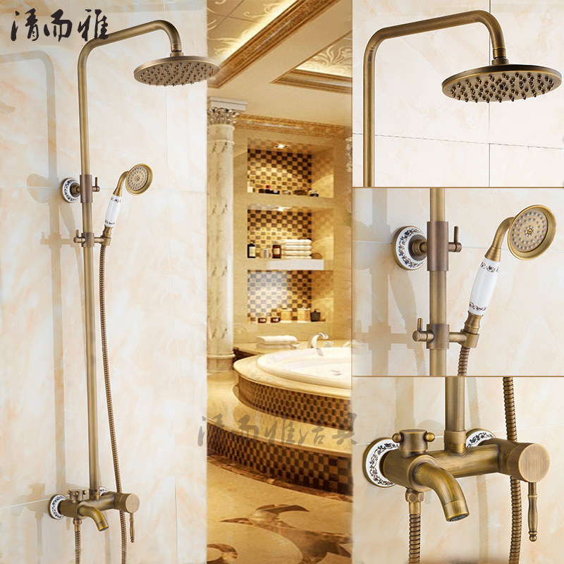 All-copper shower suite C retro antique copper shower with hot and cold water lift porcelain faucet