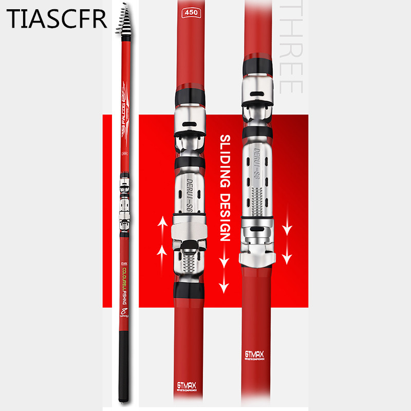 Image 3 - Portable rotary fishing 3.6M4.5M5.4M6.3M fishing rod tough carbon fiber M power telescopic travel sea boat rock fishing rod-in Fishing Rods from Sports & Entertainment