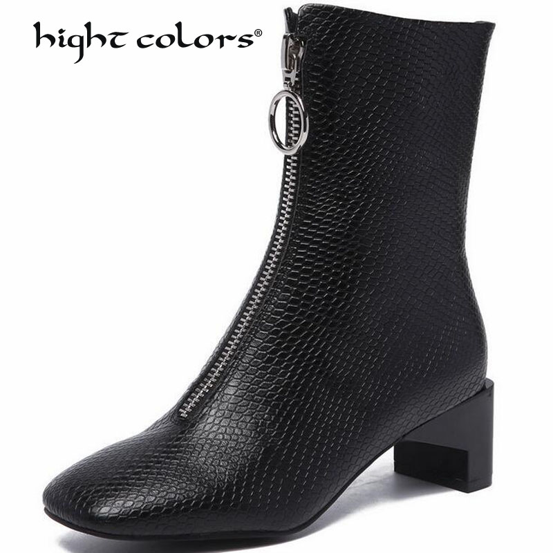 Fashion Women Mid-Calf Boots Autumn Winter Warm Genuine Leather High Heels Shoes Woman Square Toe Cross-tied Motocycle Boots
