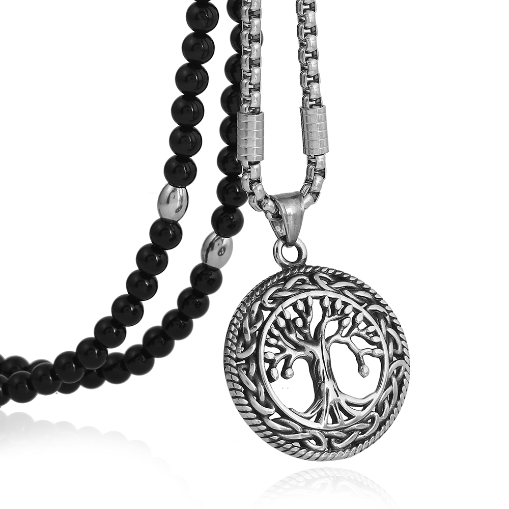 Men Punk 316L Stainless Steel Celtic Tree of Life Pendant Necklace Necklace Natural Stone Chain 26 Link