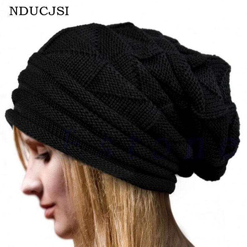 NDUCJSI Female Casual Warm Baggy Knitted Hat Cap Brand Adult Knit Winter Skullies Thick Solid Colors Hats For Men Women Beanies 2017 winter women beanie skullies men hiphop hats knitted hat baggy crochet cap bonnets femme en laine homme gorros de lana